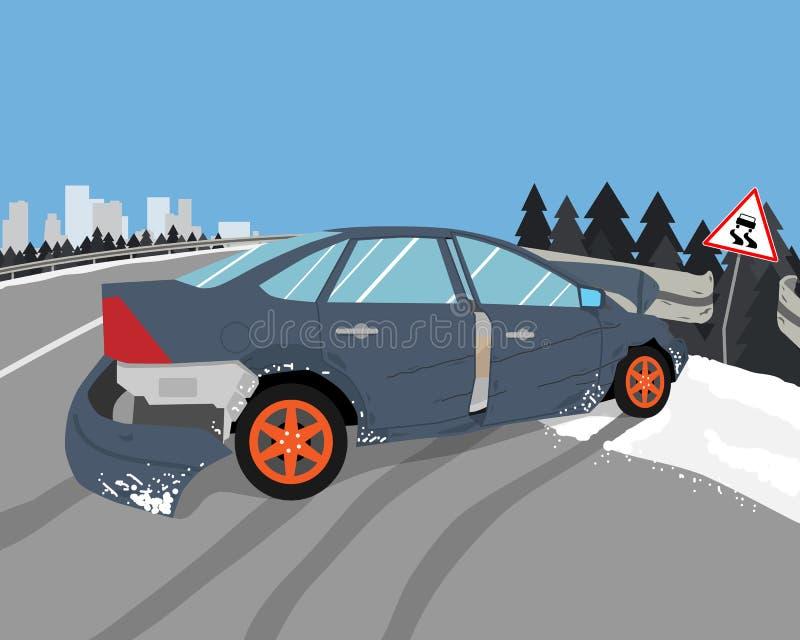 El coche patinó stock de ilustración