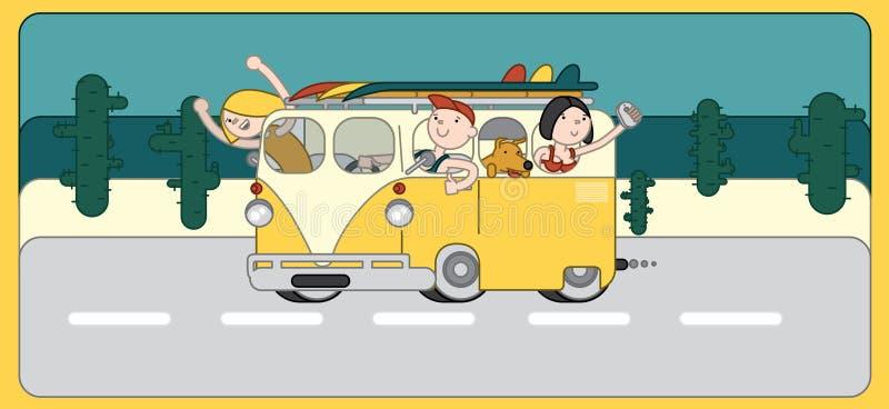 El coche plano, furgoneta de la diversión, amigos el día de fiesta, personas que practica surf del viaje monta la costa ilustración del vector