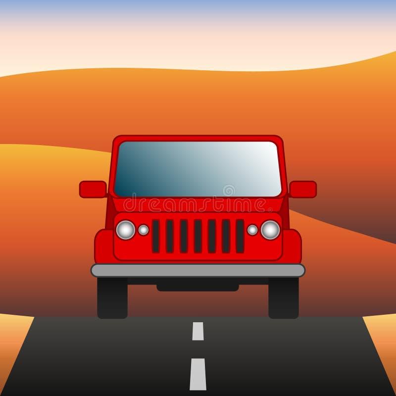 El coche rojo en el camino SUV monta a través del desierto Diviértase el vehículo utilitario en el fondo del paisaje del desierto ilustración del vector