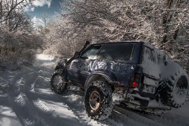 El coche va en el camino en un bosque nevoso foto de archivo