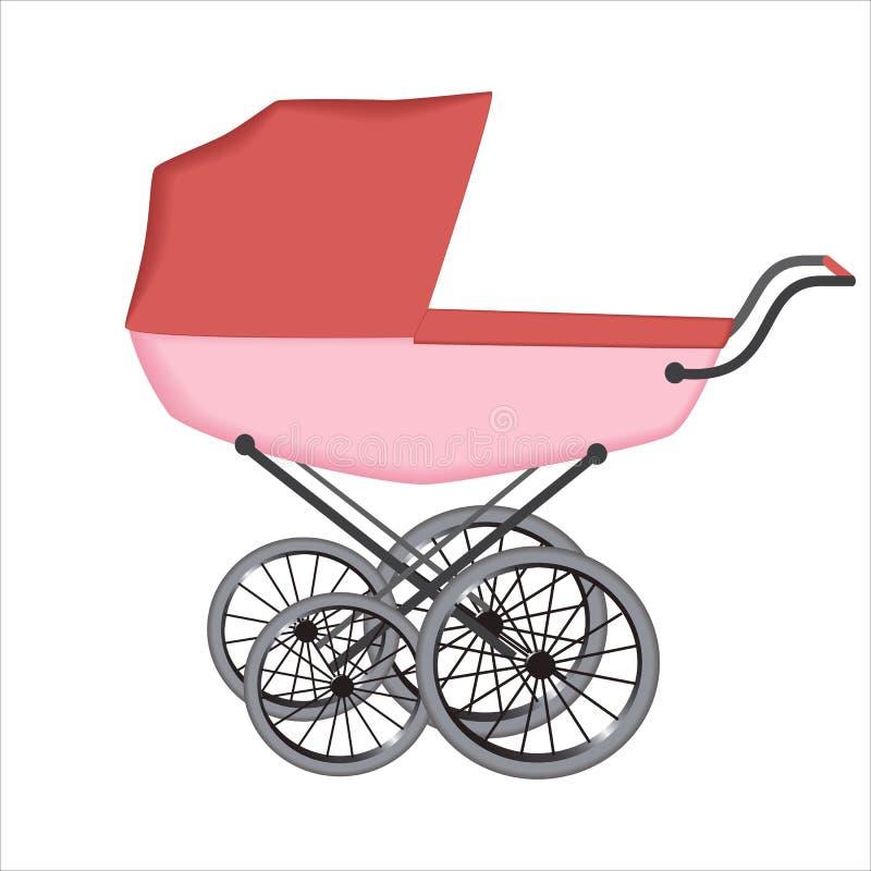 El cochecillo o el carro para el bebé en el fondo blanco libre illustration