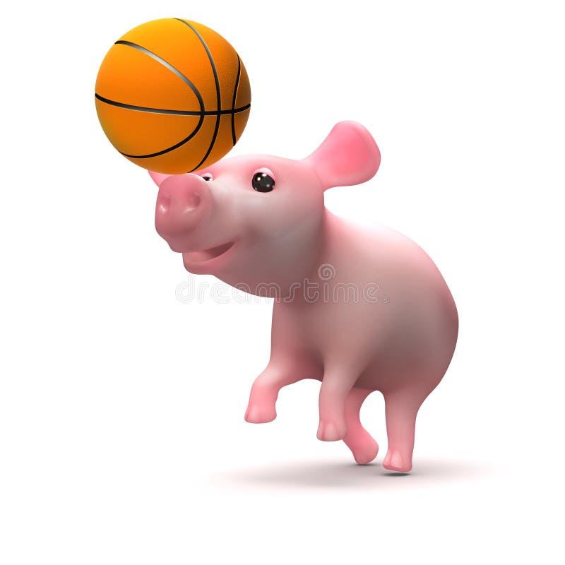 el cochinillo lindo 3d juega a baloncesto ilustración del vector