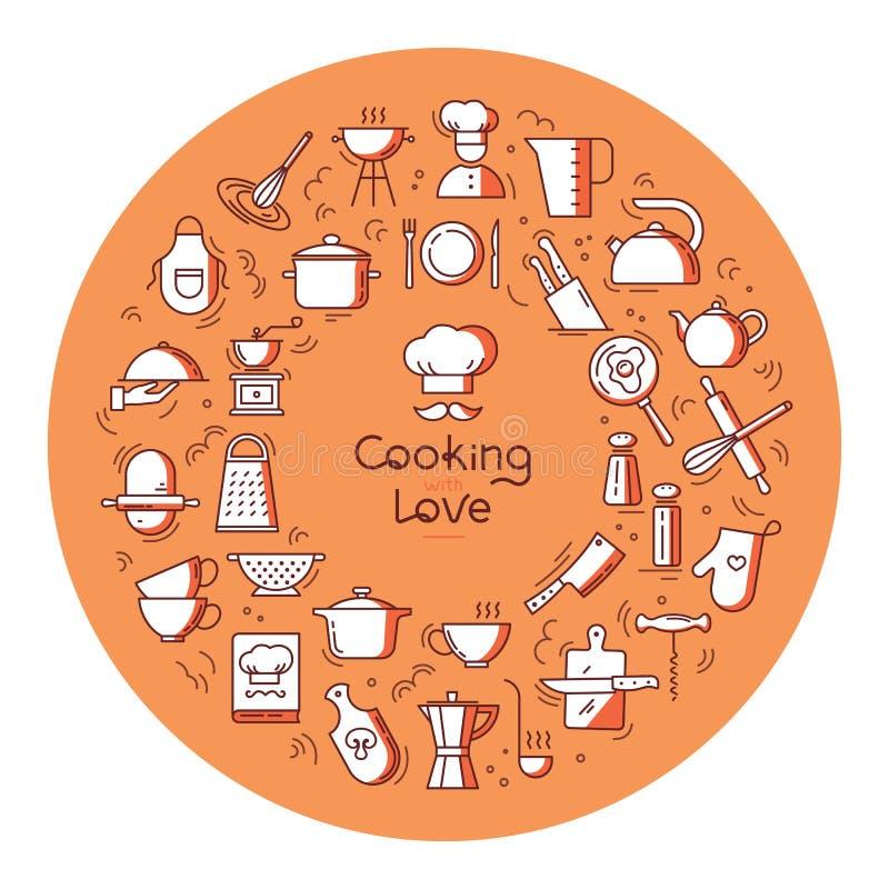 El cocinar circular con el fondo del amor de iconos en el tema de la cocina y el cocinar con las letras o el lugar para el texto libre illustration