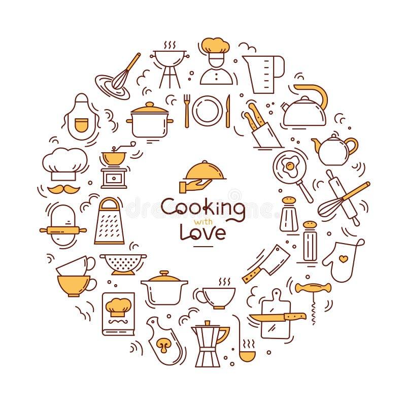 El cocinar con el fondo circular del amor de iconos en el tema de la cocina y el cocinar con las letras libre illustration