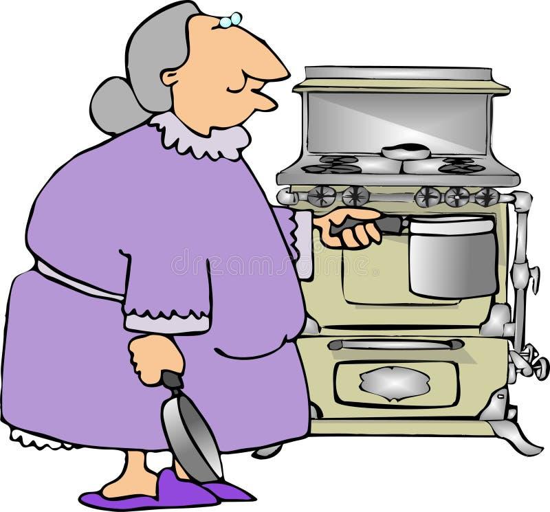 El cocinar con la abuela ilustración del vector
