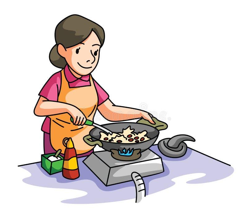 El cocinar de la esposa de la casa ilustración del vector
