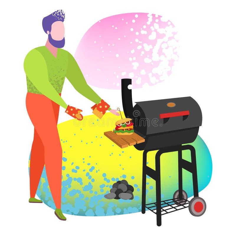 El cocinar de la gente del cartel de la barbacoa asado a la parrilla stock de ilustración