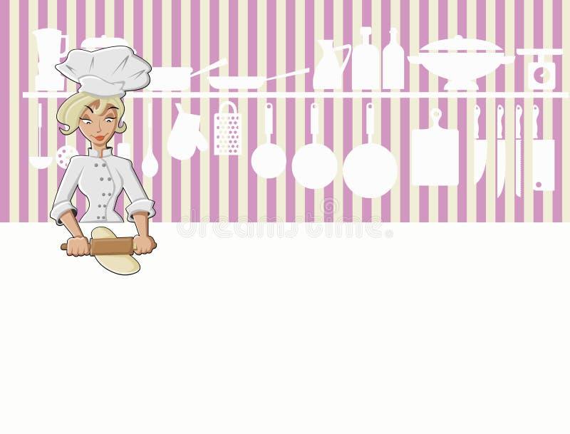 El cocinar de la muchacha del cocinero stock de ilustración