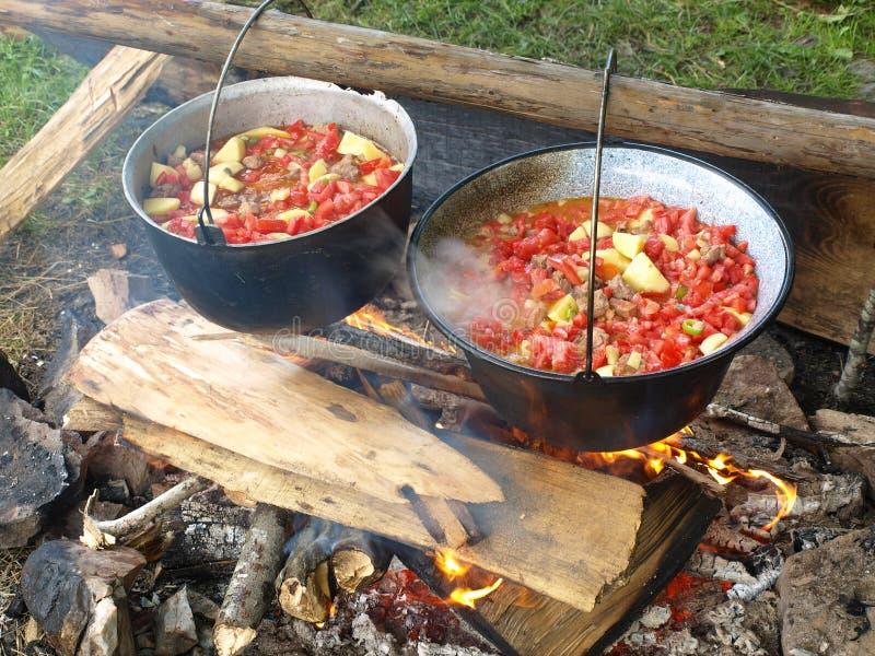 El cocinar del aire abierto fotografía de archivo libre de regalías