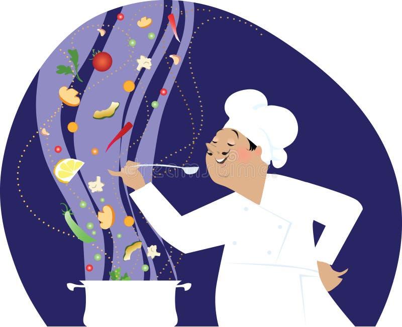 El cocinar del cocinero stock de ilustración