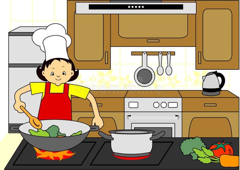 El cocinar del cocinero de la mujer stock de ilustración