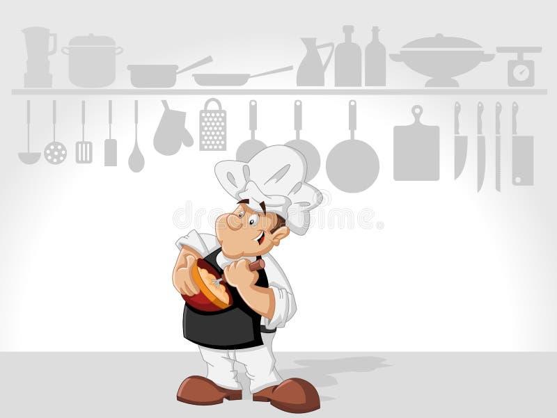 El cocinar del hombre del cocinero stock de ilustración