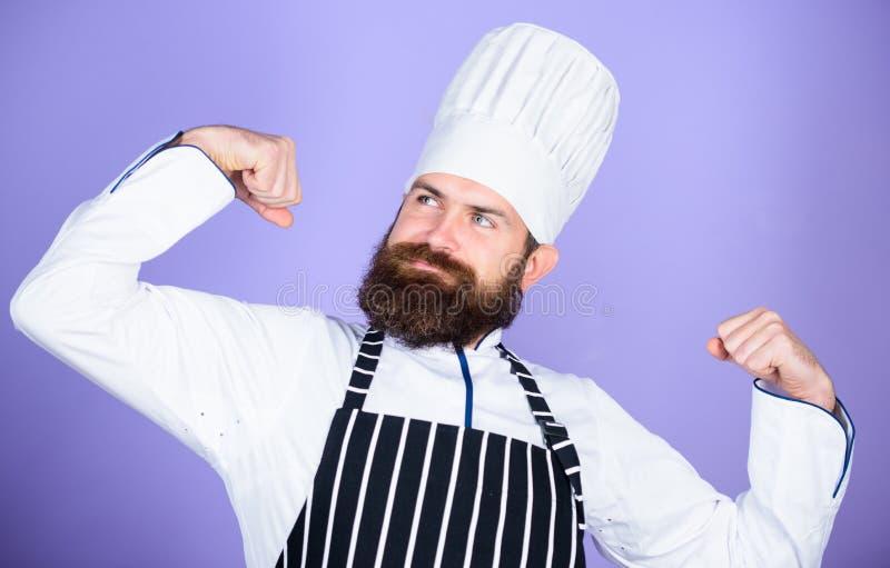 El cocinar es mi poder Mis extremidades secretas culinarias Cocinar el empleo f?cil y agradable Cocinero convertido en el restaur fotografía de archivo
