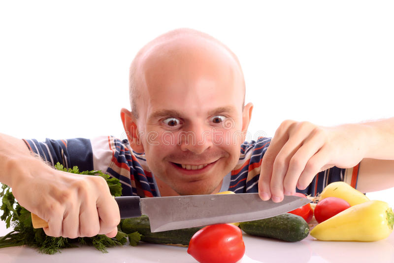 El cocinar loco del hombre imagenes de archivo