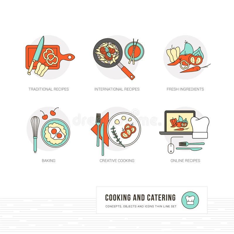 El cocinar y comida stock de ilustración