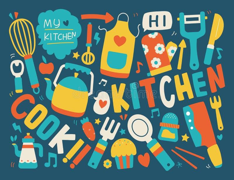 El cocinar y fondo de la cocina ilustración del vector