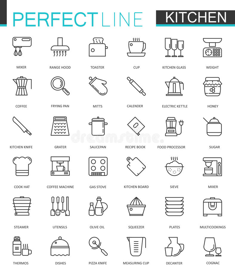 El cocinar y la cocina alinean ligeramente los iconos del web fijados Diseño del icono del movimiento del esquema stock de ilustración