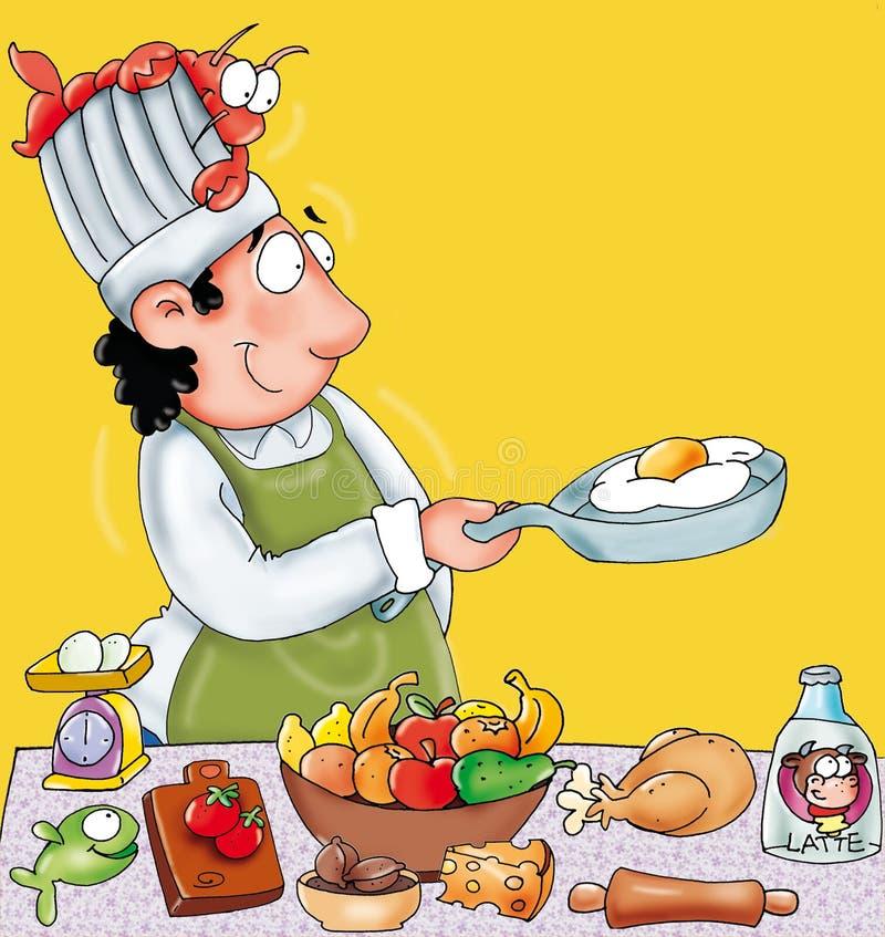 el cocinero con un botón amarillo del humorista del ejemplo coloreado del fondo y de la comida o icono para el sitio web libre illustration