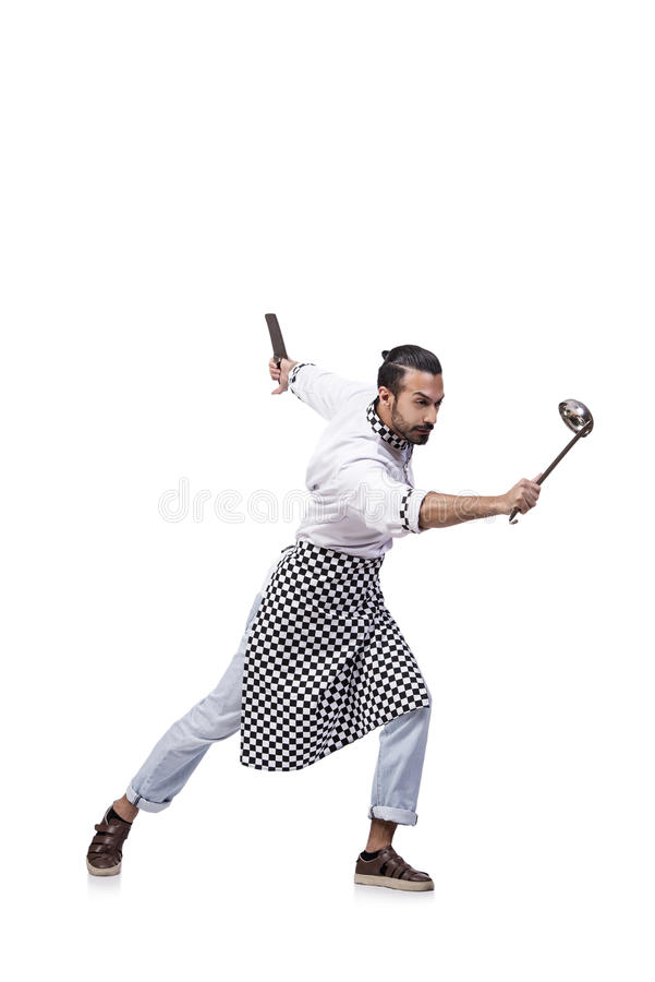 El cocinero de sexo masculino divertido aislado en el fondo blanco imagen de archivo