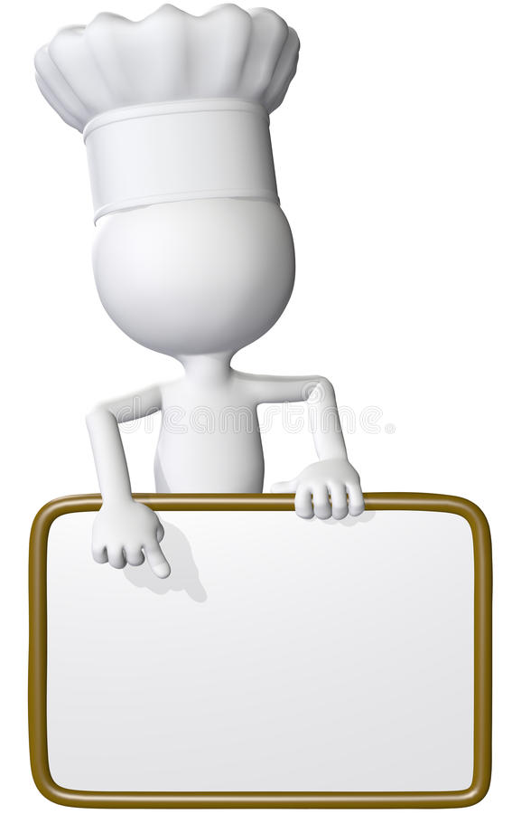 El cocinero del alimento señala la muestra del menú del restaurante ilustración del vector