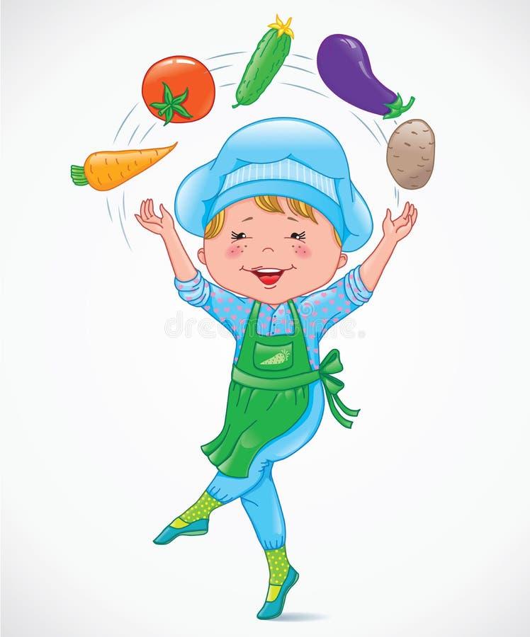 El cocinero del bebé hace juegos malabares verduras stock de ilustración