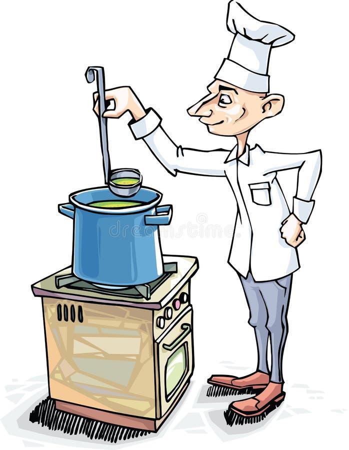 El cocinero está cocinando la sopa imagen de archivo
