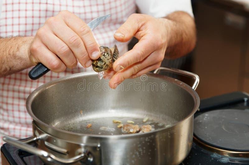 El cocinero está pelando almejas foto de archivo