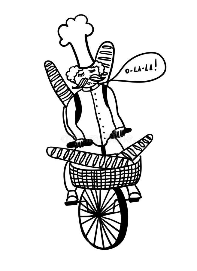 El cocinero francés monta una bicicleta y lleva los baguettes, ejemplo cómico del esquema stock de ilustración