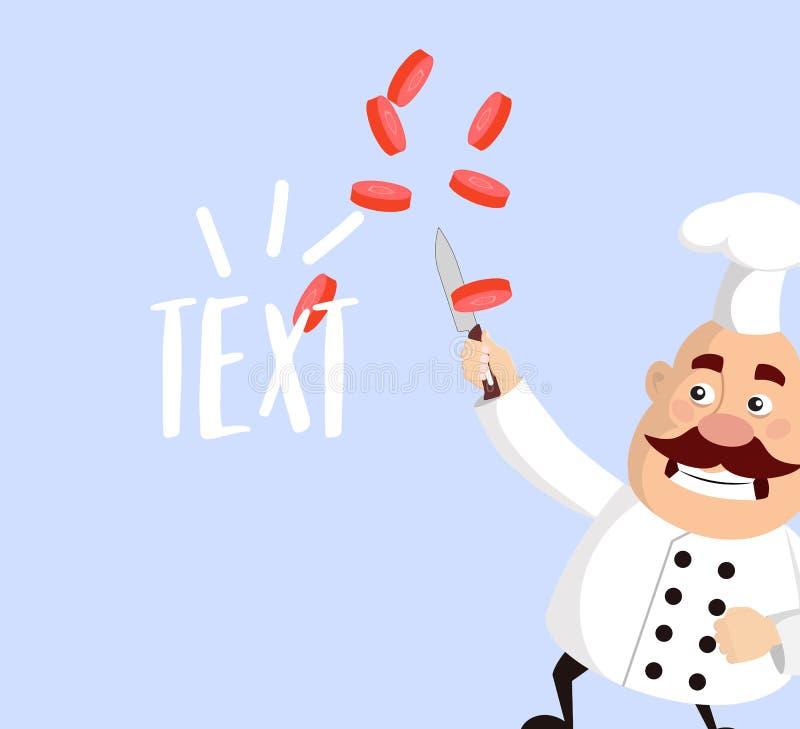 El cocinero gordo de la historieta corta diseño plano del ejemplo del vector de los veggies ilustración del vector