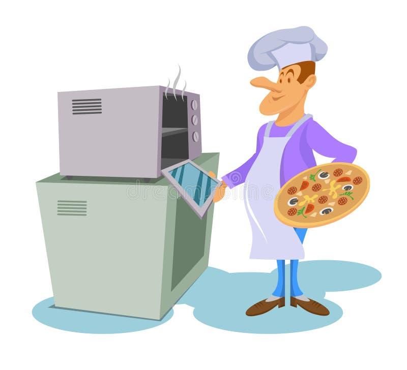 El cocinero profesional hace la pizza Cocinero en un sombrero de cocinar Cocinero en el trabajo Hef del ¡de Ð que cocina la comid ilustración del vector