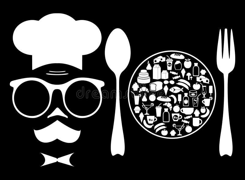 El cocinero y la comida grocery Conjunto de iconos ilustración del vector