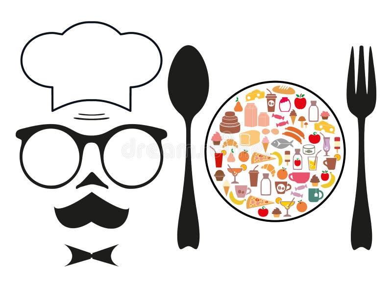 El cocinero y la comida grocery Conjunto de iconos stock de ilustración