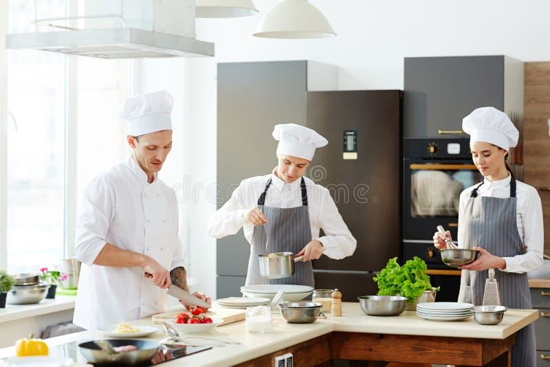 El cocinero y el suyo cocina el trabajo en la cocina imagen de archivo libre de regalías