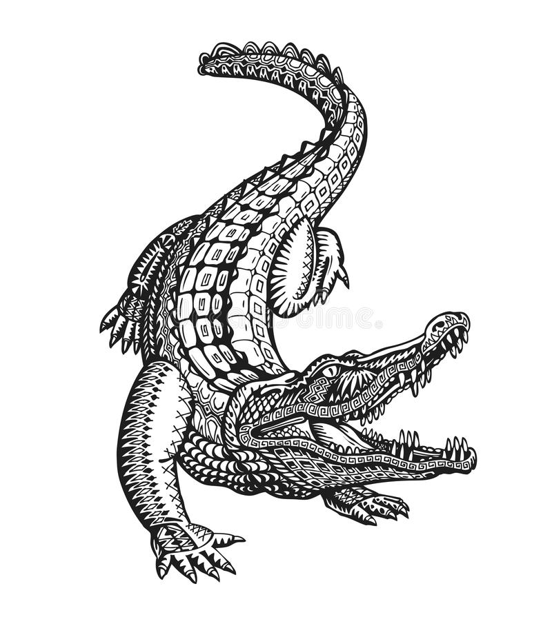 El cocodrilo, el cocodrilo o el animal pintaron el ornamento étnico tribal Ejemplo dibujado mano del vector con los elementos dec ilustración del vector