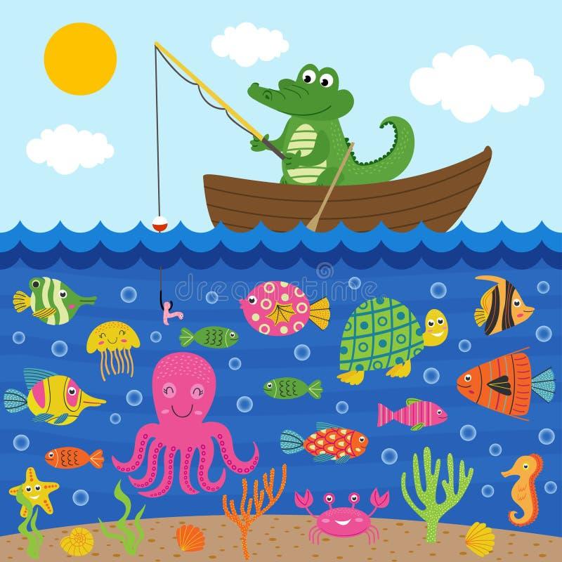 El cocodrilo en barco coge pescados libre illustration