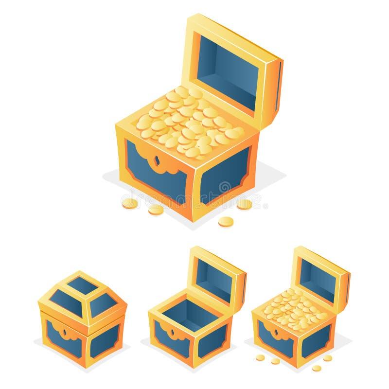 El cofre del tesoro del icono del juego del RPG con las monedas cerradas abre el ejemplo aislado vacío del vector de la plantilla stock de ilustración