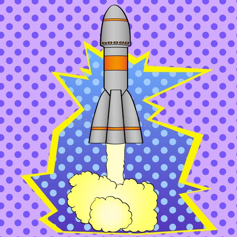 El cohete de espacio del arte pop saca de la tierra del planeta Imitación del estilo del cómic Estilo retro de la vendimia ilustración del vector