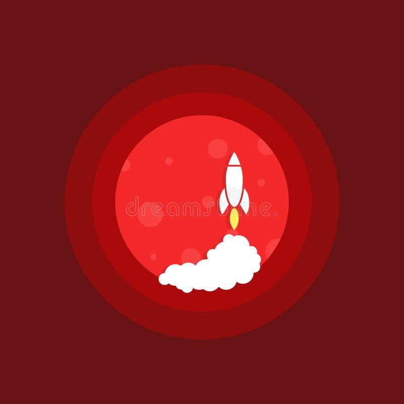 El cohete de espacio del lanzamiento encendido estropea stock de ilustración