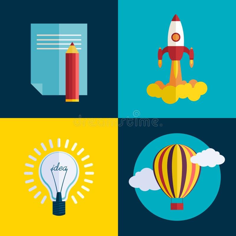 El cohete plano comienza para arriba concepto Nuevo concepto de la puesta en marcha del negocio del vector stock de ilustración