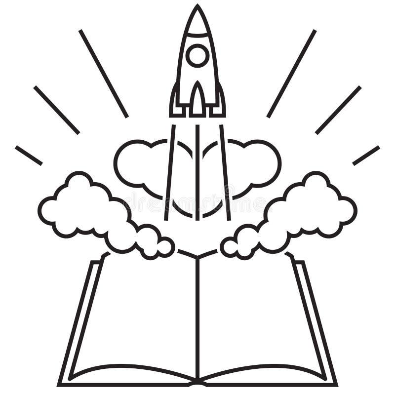 El cohete saca de un libro abierto libre illustration