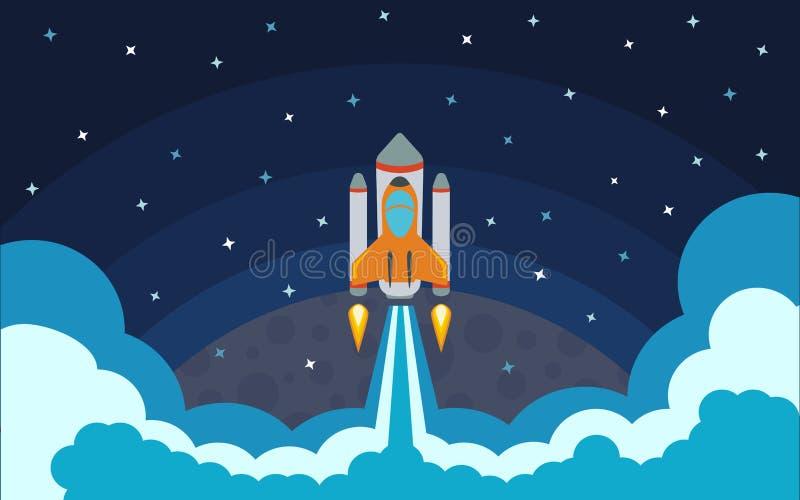 El cohete se quita del planeta El cohete en espacio libre illustration
