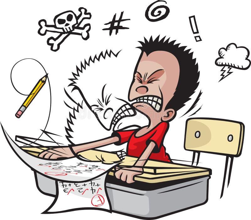 El colegial golpea la cabeza stock de ilustración