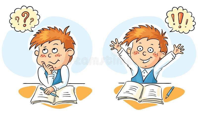 El colegial piensa y consigue una idea libre illustration