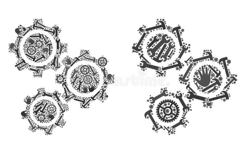 El collage adapta iconos de las herramientas del servicio libre illustration
