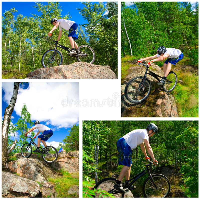 El collage de cuatro fotos bike trucos extremos imagen de archivo