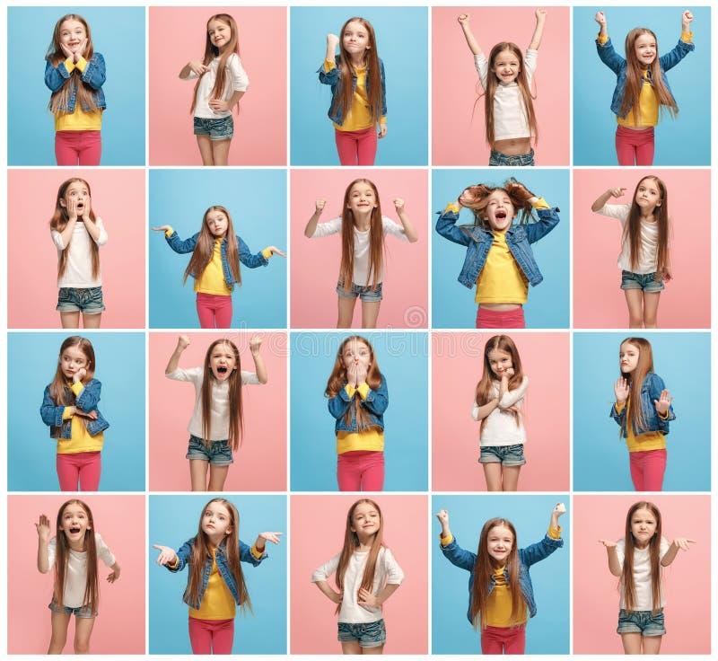 El collage de diversas expresiones faciales, emociones y sensaciones humanas de la muchacha adolescente joven foto de archivo