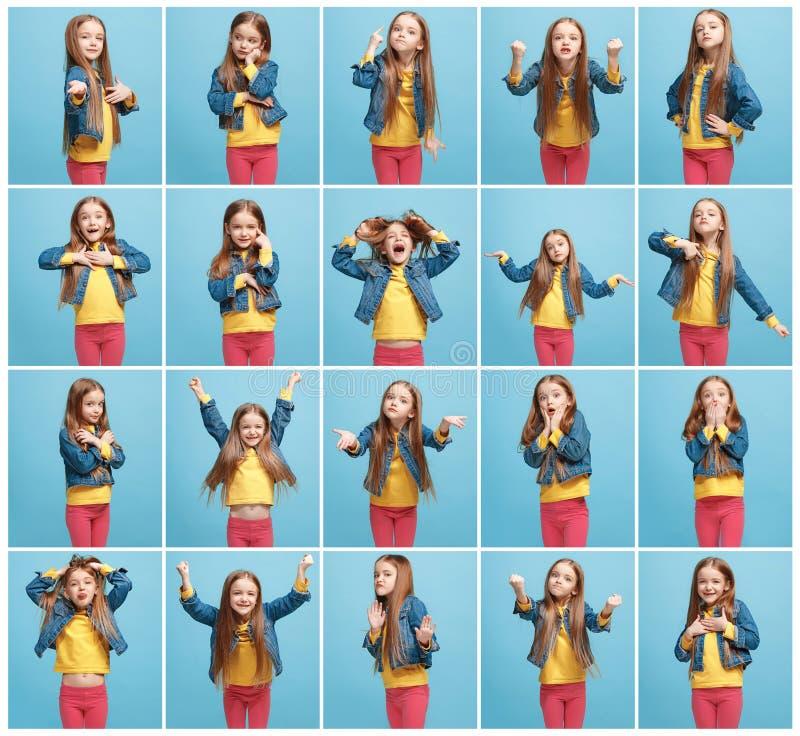 El collage de diversas expresiones faciales, emociones y sensaciones humanas de la muchacha adolescente joven fotos de archivo
