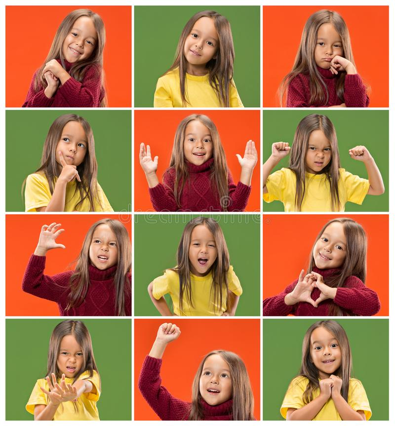 El collage de diversas expresiones faciales, emociones y sensaciones humanas de la muchacha adolescente joven foto de archivo libre de regalías