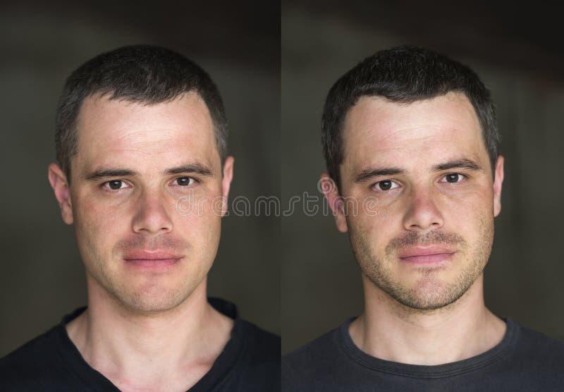 El collage de dos retratos de negro-cabelludo hermoso joven confiden fotografía de archivo