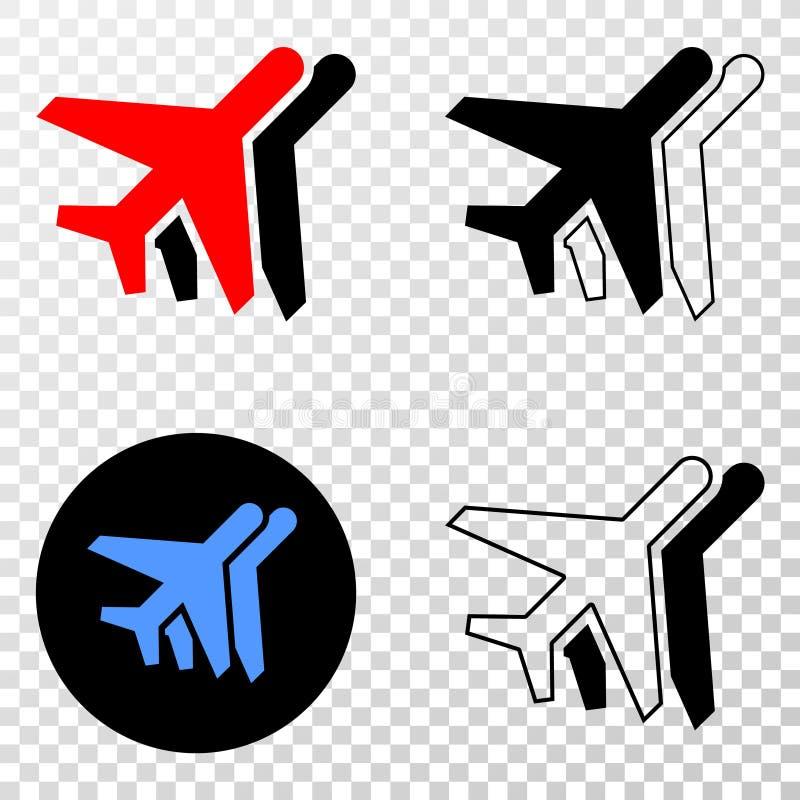 El collage de Gradiented punteó los aeroplanos y el sello de Grunged stock de ilustración